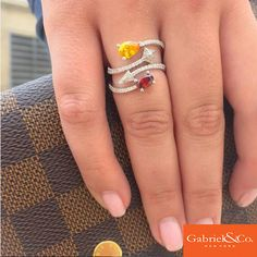 A beautiful 14k White Gold Diamond Multi Color Stones Ring by Gabriel & Co.