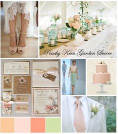 Fun, Fresh, Romance and Whimsy Wedding Inspiration #mint #peach #pink #nude #tan