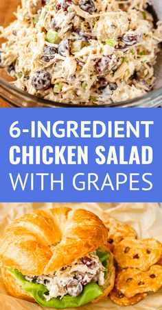 Chicken Salad with Grapes and Pecans! This easy chicken salad recipe, filled with fresh grapes and roasted pecans, makes a quick, delicious, and satisfying meal! You could also add chopped Fuji apples! Canned Chicken Salad Recipe, Greek Yogurt Chicken Salad, Can Chicken Recipes, Chicken Salad With Apples, Keto Chicken, Salad Chicken, Simple Chicken Salad, Chicken Salad Recipe Easy Healthy, Chicken Salas