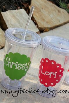 Personalized Acrylic Cups. Good idea for teachers gifts :)