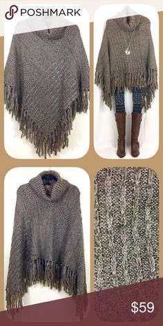 THICK Taupe Knitted Fringe Turtleneck Poncho 🍂🍁BOUTIQUE🍁🍂 ✅Not thin. So warm and cozy!  ✅One size fits all ✅I stock other items (like tunics, scarves, and leggings) that complement each other --- go take a look!  ✅Price firm, BUT... ✅Want 15% off AND a free gift? Bundle 3+ items!  ✅Check out my other warm ponchos! 🍁🍂💥Happy Poshing!💥🍂🍁 Sweaters Shrugs & Ponchos
