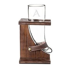 Cathy's Concepts Personalized Glass Viking Beer Horn with Rustic Stand