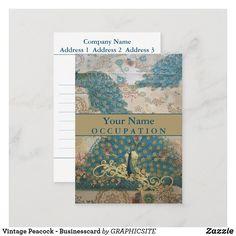 Vintage Peacock - Businesscard Business Card E Cards, Painter Artist, Peacock Design, Love Messages, Vintage Paper, Smudging, Vintage Shops, Keep It Cleaner, Paper Texture