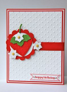 Stampin' Up! Punch Art by Jen at Ladybug Designs: Strawberry Card