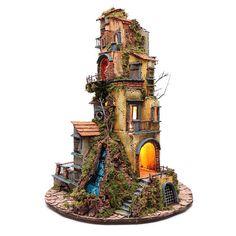 Presepe napoletano base tonda 80x45x60 cm 2 Driftwood Art, Bonsai, Wallpaper, Christmas, Crafts, Painting, Crib, Miniature Houses, Nativity Sets