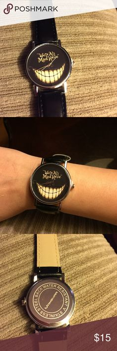 We're all Mad Here watch...(new) New adorable watch in black & tan I didn't want to bend band to pose in pictures,I love Alice so this watch is very befitting 💜 Accessories Watches