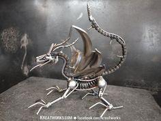 Steampunk The Metal Little Dragon small item by Kreatworks Recycled Metal Art, Scrap Metal Art, Metal Art Projects, Metal Crafts, Welding Projects, Art En Acier, Dragon Jewelry, Metal Garden Art, Steel Art