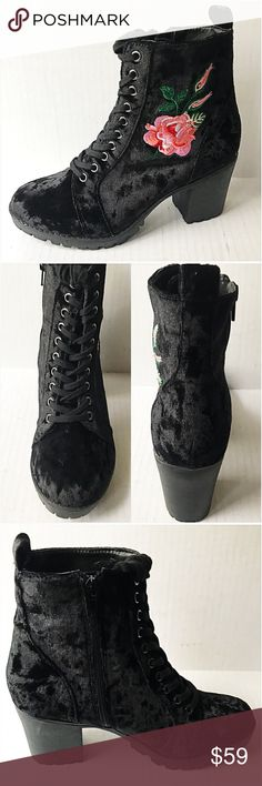 "Cutest Booties Ever Crushed Velvet Floral 7,8,9,10 Right on trend crushed velvet black booties with embroidered floral detail. Lace up & side zip closure for easy on/off. 3"" rubber heel & lug  bottom sole for good traction. New Without Tags - may have very minor signs of shelf wear 7,8,9,10 (If between sizes go down) Report Shoes Ankle Boots & Booties"