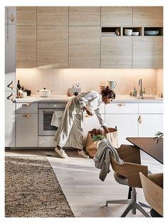 Ikea Kitchen Design, Small Kitchen Organization, Kitchen Colors, Kitchen Interior, Kitchen Decor, Kitchen Liners, Home Decoracion, Cuisines Design, Kitchen Flooring