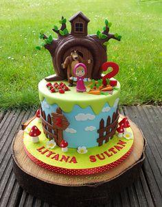 Masha and the Bear by TortenbySemra Ocean Birthday Cakes, Baby Birthday Cakes, Bear Birthday, Masha Cake, Masha Et Mishka, Bolo Fake Eva, Marsha And The Bear, Baby Girl Cakes, Baby Boy