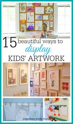 Reclaim your fridge and reduce the mess and clutter of kids' artwork projects. 15 easy ways to display kids' art at home - playroom, on wall, in kitchen, in frames, in living room or hallways, DIY.  #playroom #kidsstuff #playroomart #playroomideas #kidsar