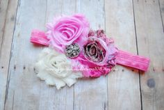 Pink and Cream with Shabby Chic Flowers by LauraLeeDesigns108, $6.99