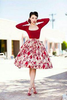 Pin-Up / Rockabilly Robes Rockabilly, Rockabilly Mode, Rockabilly Fashion, 1950s Fashion, Vintage Fashion, Vestidos Vintage, Vintage Dresses, Vintage Outfits, Vintage Skirt