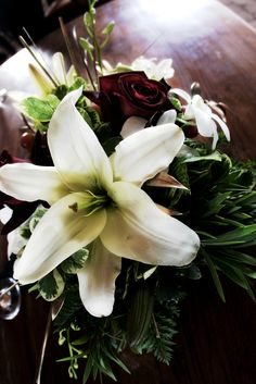 White Lilly and Red Rose - close up