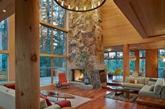 warm wood equals out the 'cold' sleek modern design in this mountain home. Mountain Home Awards Vantage Point Home Interior, Interior Architecture, Interior And Exterior, Design Interior, Unique Architecture, Cabin Design, Home Design, Modern Design, Porches