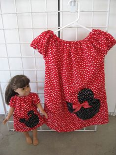 Peasant Style Dress set Red White Poka Dots with Minnie by socute2, $27.00