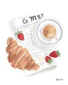 Coffee, croissant, and strawberries with a side of the news make for an ideal breakfast scene captured in watercolor. High-quality fine art print on studio watercolor paper. Available in 3 sizes, and Watercolor Illustration, Watercolor Art, Paris Illustration, Cake Illustration, Doodle Drawing, Drawing Art, Food Painting, Painting Art, Handmade Home