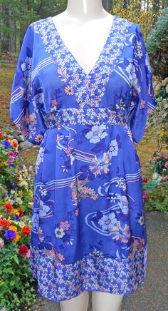 0a6d6f29f40 H  amp  M Purple  amp  Multi Floral Raglan Sleeve Tunic Style Poly Dress!