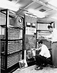 Year 1955: Felker and Harris program TRADIC, AT&T Bell Laboratories announced the first fully transistorized computer, TRADIC. It contained nearly 800 transistors instead of vacuum tubes. Transistors — completely cold, highly efficient amplifying devices invented at Bell Labs — enabled the machine to operate on fewer than 100 watts, or one-twentieth the power required by comparable vacuum tube computers. The computer occupied only 3 cubic feet.