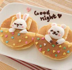 Cuuute. Cute Food, Good Food, Yummy Food, Dessert Halloween, Pancake Art, Bunny Pancake, Pancake Breakfast, Cute Good Night, Food Humor