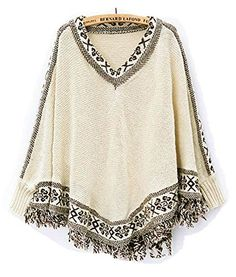PianPian Womens Batwing Sleeve Tassels Hem Cloak Knitting Sweater Beige * Click image for more details.(This is an Amazon affiliate link and I receive a commission for the sales) #WomensSweaters