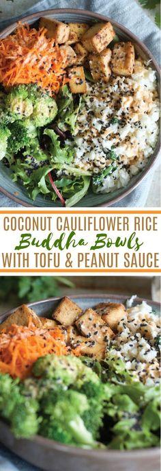 Coconut Cauliflower Rice Buddha Bowls #vegan #dinner #glutenfree #healthy #plantbased #califlowerrice