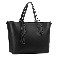 online shopping for Kattee Women?s Leather Tote Shoulder Bag Dual-shaped Cross-body Bag Tassel from top store. See new offer for Kattee Women?s Leather Tote Shoulder Bag Dual-shaped Cross-body Bag Tassel Crossbody Shoulder Bag, Shoulder Handbags, Crossbody Bag, Shoulder Bags, Leather Purses, Leather Handbags, Leather Totes, Cute Tote Bags, Cowhide Leather