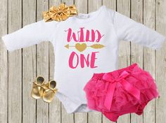 Wild ONE 1st Birthday bodysuit gold and pink ONE by babyfables