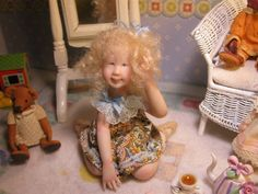 OOAK Dollhouse Miniature Girl  Doll *Natalie*  By Carol McBride *New Work*