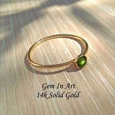 14K Gold Green Tourmaline RingSolid Gold Dainty Ring14K Tourmaline Ring, Green Tourmaline, 14k Gold Ring, Gold Rings, Handcrafted Jewelry, Unique Jewelry, Dainty Ring, Stackable Rings, Personalized Jewelry