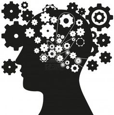silhouette of a man with a gear mechanism in the head, vector illustration Stock Photo - 14381550