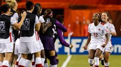Canada's Ashley Lawrence, No. 22, celebrates her goal with teammates during a World Cup Group A match against the Netherlands at Olympic Stadium on June 15 in Montreal.