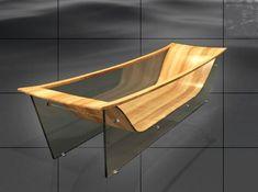 Bagno Sasso Wave Diamond - wood and glass bathtub Glass Bathtub, Wood Bathtub, Wood Sink, Wood Bathroom, Bathroom Interior, Wood Furniture, Modern Furniture, Furniture Design, Wooden Bath