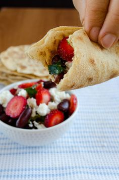 Red bean salad with feta, onion, tomatoes and strawberries   giverecipe.com   #beans #salad #healthy