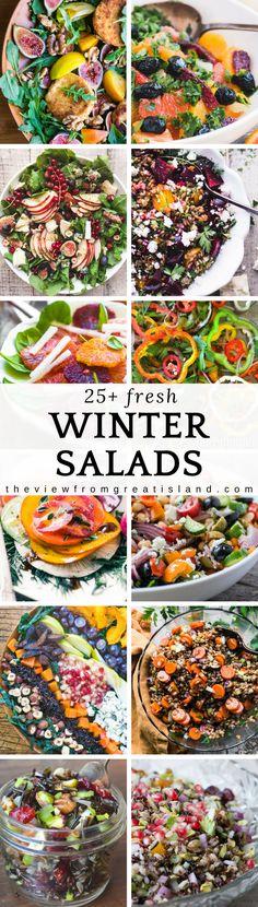 25 + Seasonal Winter Salads for everyday meals and holiday tables! #salad #side dish #healthy #healthyeating #vegetarian #GlutenFree Holidaysidedish #Thanksgivingsalad #Thanksgivingsidedish #ChristmasSalad #Christmassidedish #kale #citrus #grainsalad