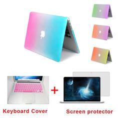 Mode regenboog matte harde beschermer geval voor macbook air 11 pro 13/15 inch met retina + roze toetsenbord dekking gratis verzending(China (Mainland))