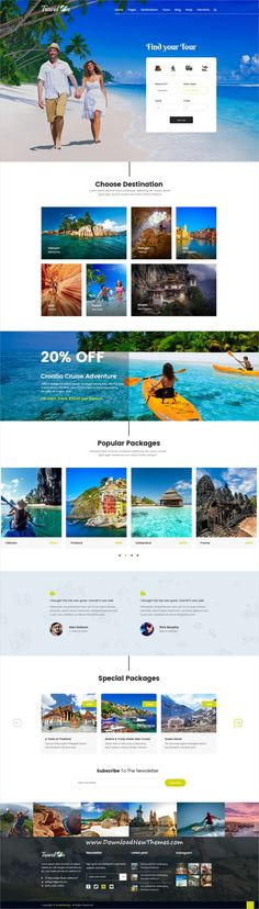 Travelon is clean and modern design #PSD template for #tour and #travel agency website with 18 layered PSD files to download & live preview click on image or Visit #webdevelopment