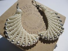 EarWings Chic Elegant  Macramé Fiber Textile Earrings  Off by raiz, $28.00