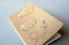 Hand Drawn Pocket Journal Moleskine Cahier Notebook  - Paper Airplane Illustration. $12.00, via Etsy.: