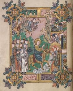 eadfrith:  The Benedictional of St Æthelwold - folio 45v Christ's entry into Jerusalem.  This beautiful manuscript was made for the personal...