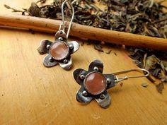 Sterling Silver and Cristal Flower Earrings. Boho por PuntoPausa