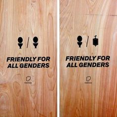 These doors are lovely with their minimal designs: | 17 Of The Most Fabulous Gender Neutral Bathroom Signs