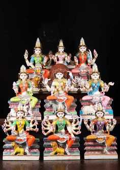 View the White Marble Nava Durga Statue Set at Hindu Gods Creator Of The Universe, Divine Grace, Four Arms, Durga Goddess, Durga Maa, Dark Complexion, Mother Goddess, The Donkey, The Eighth Day