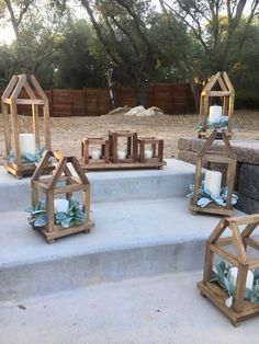 Wood lantern candle holder, wood lantern centerpiece, votive candle holder, 17 x 5 base with three wood lanterns for votives Lantern Centerpieces, Lantern Candle Holders, Diy Lantern, Wooden Lanterns, Lanterns Decor, Diy Wood Projects, Wood Crafts, Woodworking Projects, Boutique Deco