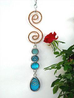 Stained Glass Suncatcher Garden Decor Yard Art Dangler Copper Turquoise