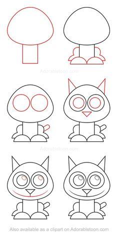 Chat 2 Draw Tutorial, Cartoon Drawing Tutorial, Drawing Templates, Cartoon Girl Drawing, Cat Drawing, Drawing For Kids, Easy Dragon Drawings, Easy Drawings, Pencil Art Drawings