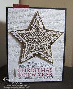 Heat embossed gold foil sheets are gorgeous on this Christmas Card made with the Bright & Beautiful Stars bundle from Stampin' Up!