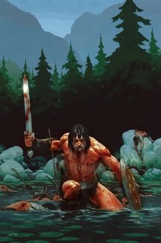 m Barbarian Shield Greatsword River Conifer Forest Mountain Valley wilderness battle story Conan by Esad Ribic lg Comic Book Artists, Comic Artist, Comic Books Art, Fantasy Warrior, Fantasy Artwork, Silver Surfer, Conan The Destroyer, Character Art, Character Design