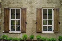 Exterior wood shutters diy 63 ideas for 2019 Cedar Shutters, Wood Shutters, Window Shutters, Exterior Shutters, Cottage Shutters, Outdoor Shutters, Farmhouse Shutters, Exterior House Colors, Exterior Design