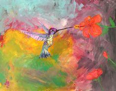 """A Parting Kiss"" by J. Travis Duncan  Hummingbird feeding from a hibiscus. #jtravisduncan #hummingbird"